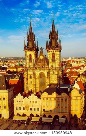 Old Town Square with Church of Our Lady before Tyn in eastern european Czech capital Prague - sunny view from Town Hall