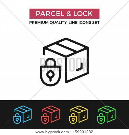 Vector parcel and lock icon. Protected delivery. Premium quality graphic design. Modern signs, outline symbols collection, simple thin line icons set for websites, web design, mobile app, infographics