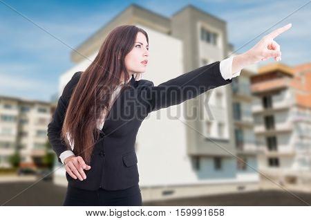 Real Estate Agent Pointing At Something