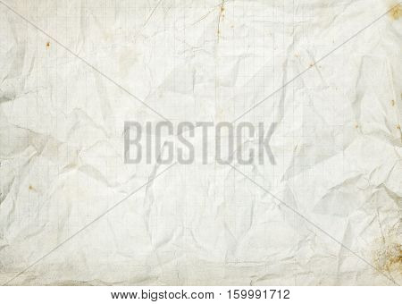 Crumpled blank white old lined paper background with rusty stains