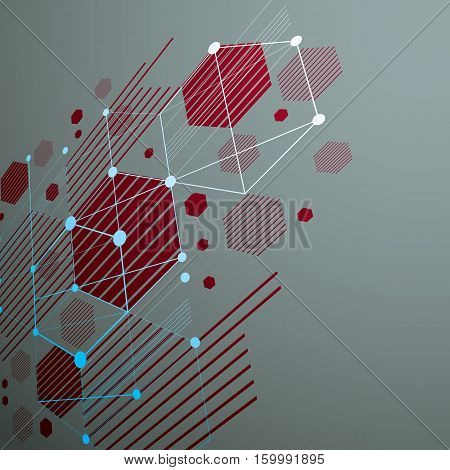Bauhaus art dimensional composition perspective red modular vector backdrop with honeycombs. Retro style pattern graphic backdrop for use as booklet cover template.