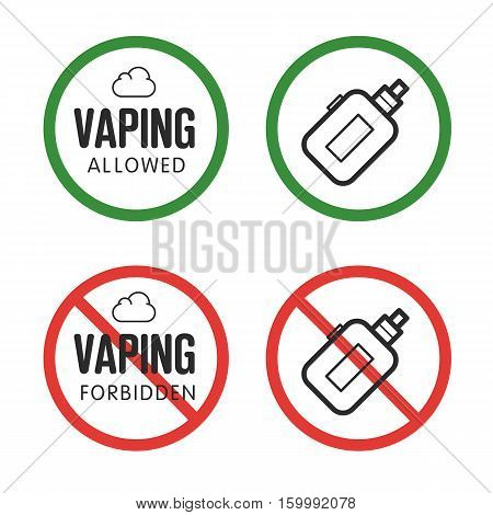 Vector FORBIDDEN assent vaping isolated trend sign