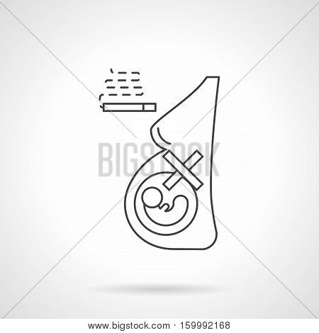 Symbol of mother careless attitude to fetus health. Abstract figure of pregnant woman and cigarette. Harm and damaging effects of smoking. Flat black line vector icon.