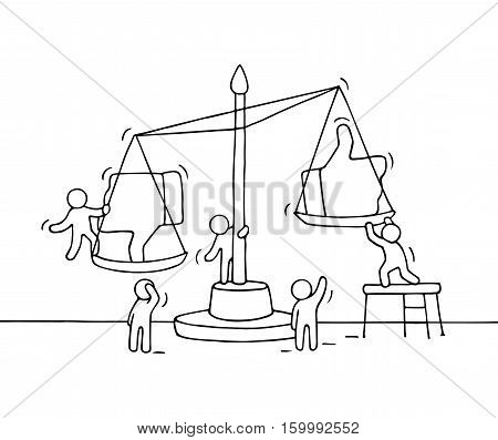 Sketch of working little people with scale. Doodle cute miniature scene of workers choosing between like and dislike. Hand drawn cartoon vector illustration for social media design.