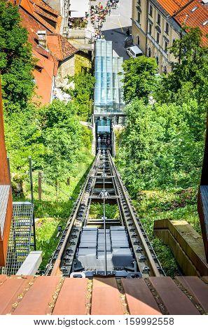 Funicular Railway Of Ljubljana In Ljubljana Castle Capital Of Slovenia.