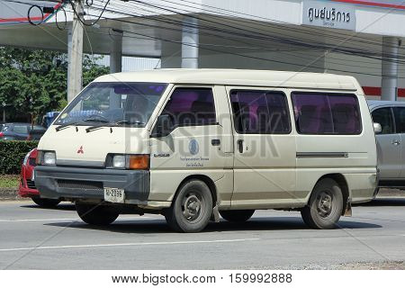 CHIANG MAI THAILAND - OCTOBER 28 2016: School bus van of Mae Hor Phrae School Mitsubishi Van. On road no.1001 8 km from Chiangmai Business Area.