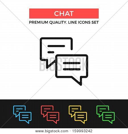 Vector chat icon. Instant messaging, discussion concepts. Premium quality graphic design. Signs, symbols collection, simple thin line icons set for websites, web design, mobile app, infographics
