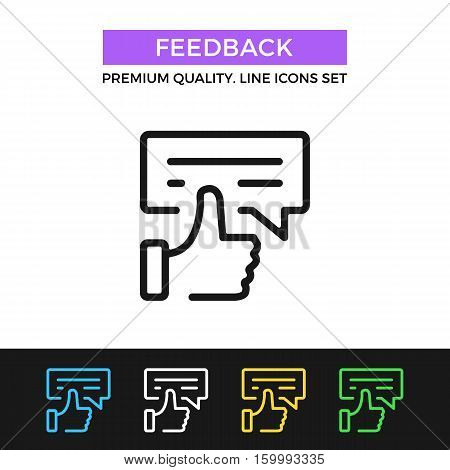 Vector feedback icon. Testimonials, review concept. Premium quality graphic design. Modern signs, outline symbol collection, simple thin line icons set for website, web design, mobile app, infographic