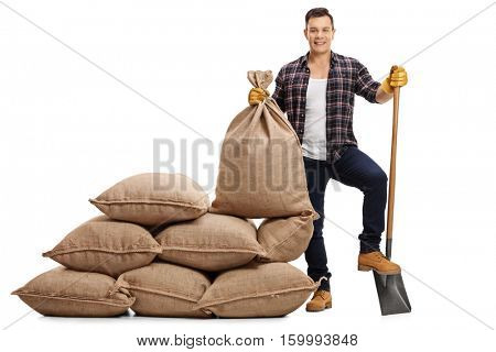 Full length portrait of a male farmer with a shovel under his foot standing next to a pile of burlap sacks isolated on white background