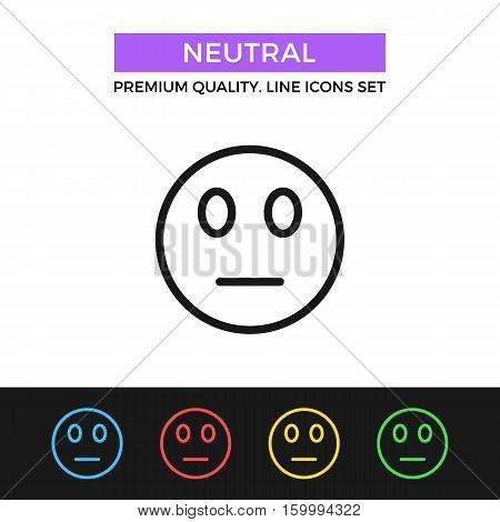 Vector neutral emoticon icon. Meh face, indifference concept. Premium quality graphic design. Modern signs, outline symbols, simple thin line icons set for website, web design, mobile app, infographic