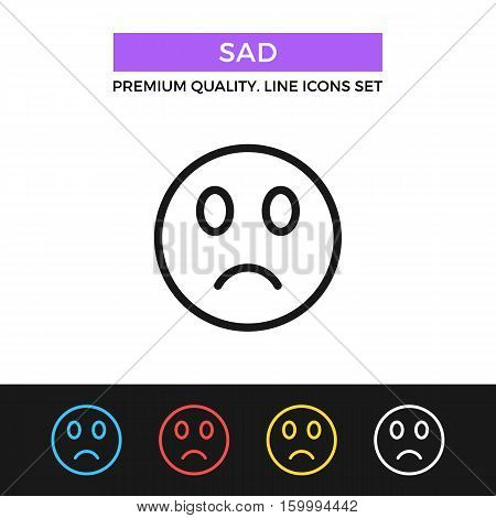 Vector sad emoticon icon. Sad face, sadness, disappointment concept. Premium quality graphic design. Signs, outline symbols, simple thin line icons set for website, web design, mobile app, infographic