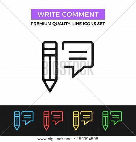 Vector write comment icon. Testimonials, reviews, feedback concept. Premium quality graphic design. Signs, outline symbols, simple thin line icons set for websites, web design, mobile app, infographic