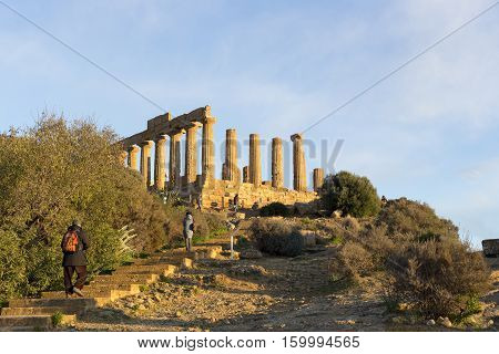 Temple Of Concordia At Agrigento Valley Of The Temple Sicily Italy