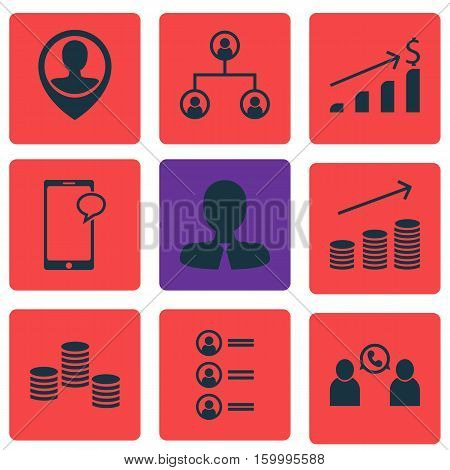 Set Of 9 Management Icons. Can Be Used For Web, Mobile, UI And Infographic Design. Includes Elements Such As Chat, Tree, Dollar And More.