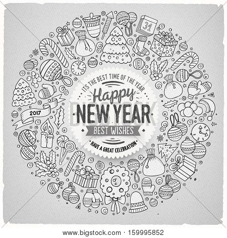 Sketchy vector hand drawn set of New Year cartoon doodle objects, symbols and items. Round frame composition