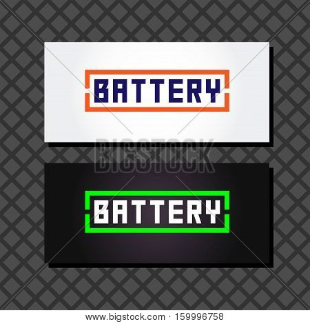 Battery  logo set  1. Concept logo in the form of batteries Battery words in a frame on a white background. Two business cards with battery logo.