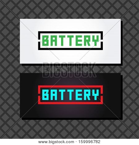 Battery logo set 2. Concept logo in the form of batteries Battery words in a frame on a white background. Two business cards with battery logo.