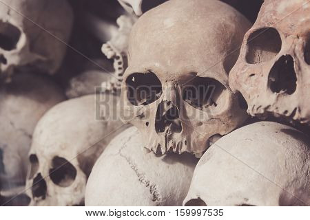 Skulls From A Mass Grave Of Khmer Rouge