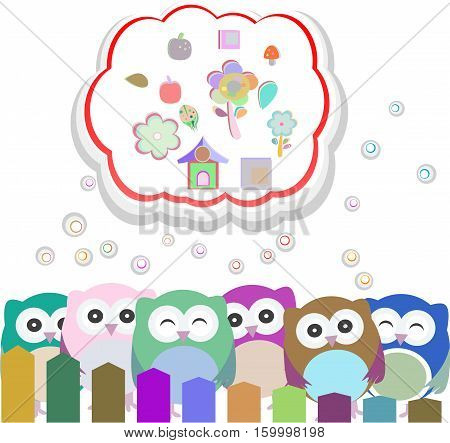 happy owl family with speech bubble, holiday card