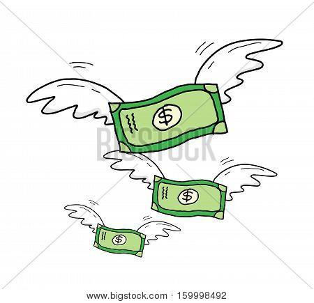 Group of Dollar Money With Wings Flying . A hand drawn vector cartoon illustration of a group of flying money.
