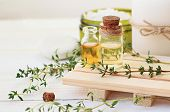 Thyme essential oil. Bottles with extract, fresh green plant leaves. Aromatherapy treatment. Botanic Spa. poster