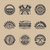 Forest product vintage isolated label set vector illustration. Woodwork symbol. Premium quality icon. Wood and sawmill equipment logo. Wood, axe, saw, tree sign. Wood industry, sawmill service concept poster