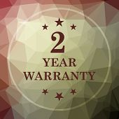 2 year warranty icon. 2 year warranty website button on khaki low poly background. poster