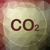 CO2 icon. CO2 website button on khaki low poly background. poster