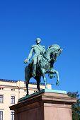 Statue of Norwegian King Carl Johan XIV in Oslo poster