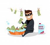 Money laundering concept vector. Flat design. Financial crime, tax evasion, money laundering, political corruption illustration. Man in a business suit, in mask washes the money in bowl with water. poster