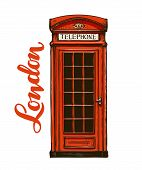 London, red phone booth. Vector illustration isolated on white background poster
