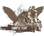 Vector grunge background with a hot rod motorcycle and a biker. poster