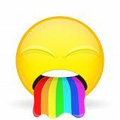 Barf emoji. Emotion of disgust. Spew rainbow emoticon. Cartoon style. Vector illustration smile icon. poster