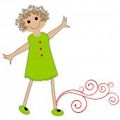 happy cartoon girl with curly hair poster