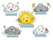 Mascot Illustration Featuring the Personification of Different Weather Conditions poster