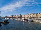 Strandvagen street seafront architecture of Stockholm, Sweden poster