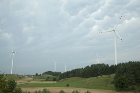 fuel and power generation on overcast sky