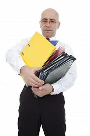 man with colorful binders on white background