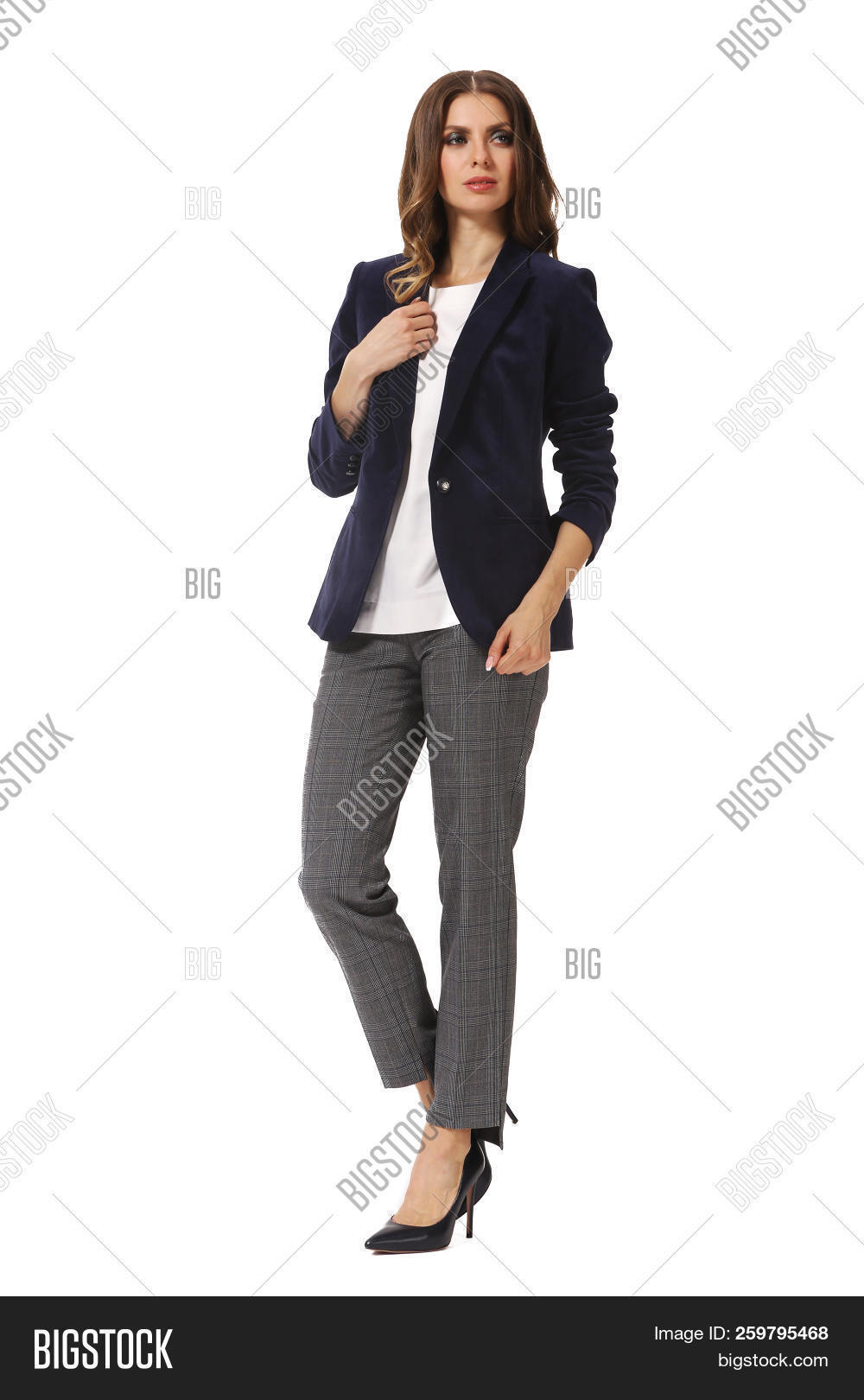 b67006f58a3 Business Woman Executive Posing In Designer Formal Casual Jacket And  Trousers Sneakers Shoes