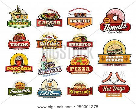 Fast Food Icons Of Fastfood Snacks And Sandwiches. Cafe, Restaurant Or Bistro Menu. Vector Chinese N