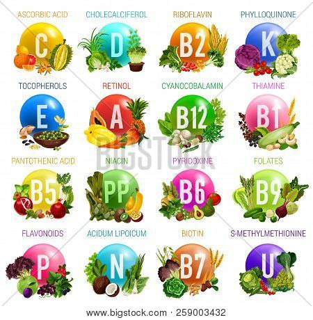 Vitamins And Minerals In Healthy Food Of Salad Vegetables, Fruits, Nuts, Cereals And Berries. Vector