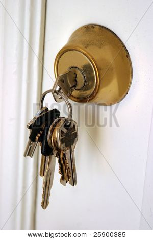 Keys in a lock in a door