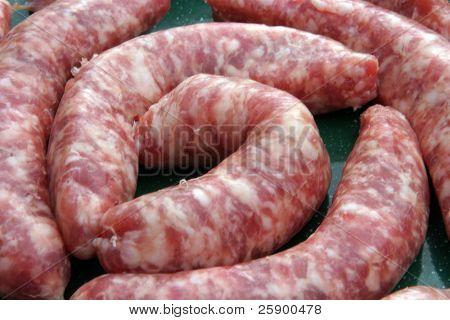 close up of raw sausages
