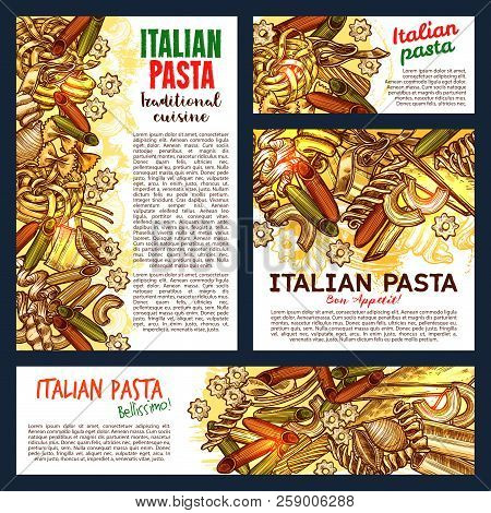 Italian Pasta Sketch, Italy Cuisine Or Pasta Restaurant Menu Design. Vector Posters And Banners Of T
