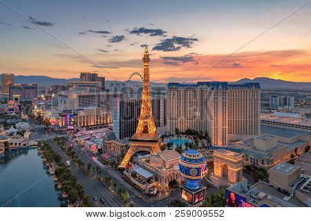 World Famous Las Vegas Strip At Sunrise On July 26, 2018 In Las Vegas, Usa. The Strip Is Home To The