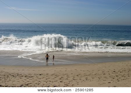 two unidentifable people stand and watch the ocean waves crash upon the beach in Southern California