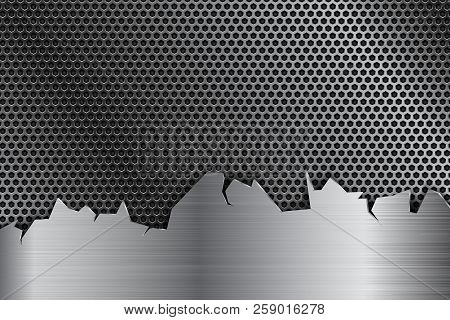Metal Perforated Background With Stainless Steel Element With Torn Edges. Vector 3d Illustration