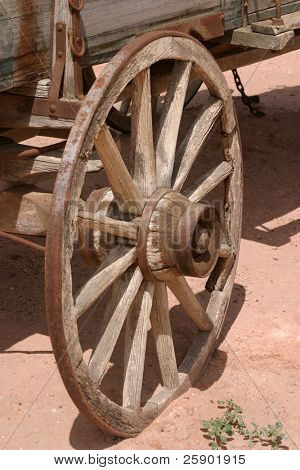 old west wooden wagon wheel