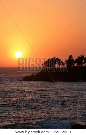 unique sunset in Laguna Beach California