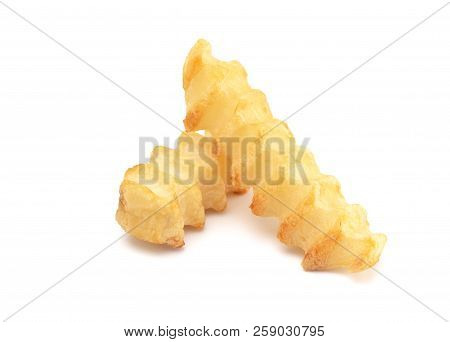 Crinkle Fries Isolated on a White Background poster